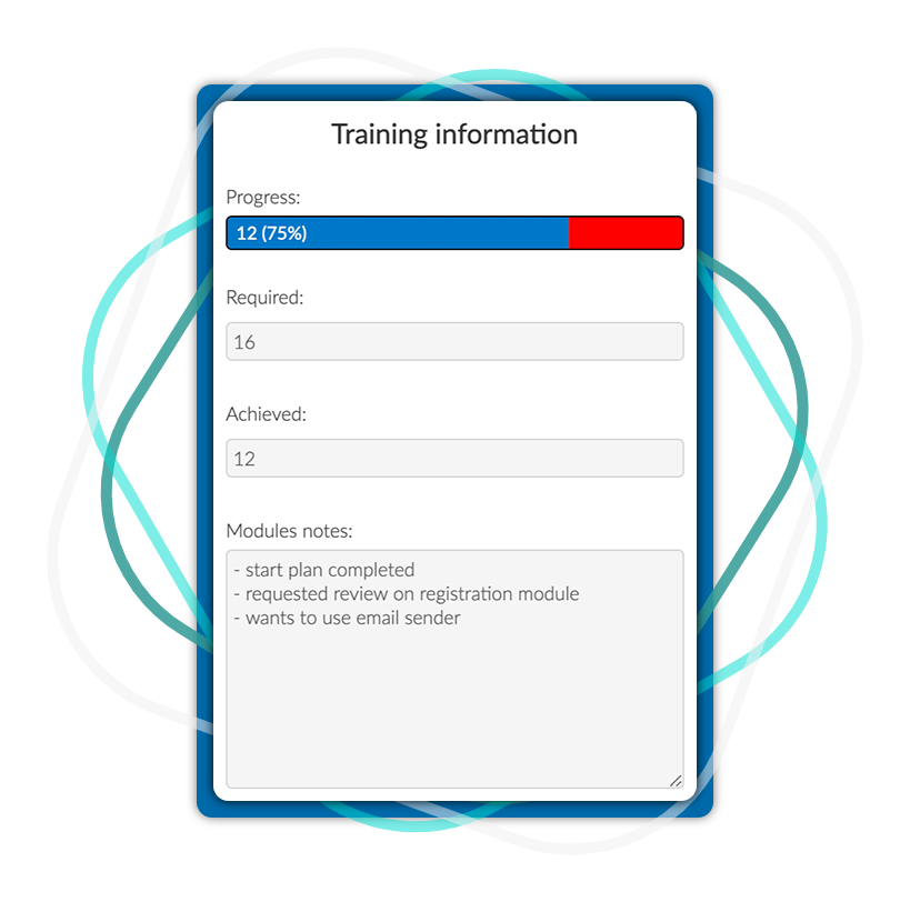 Training software to track your progress with InEvent